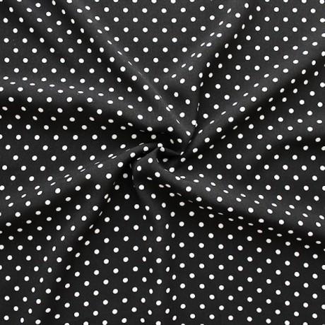 Polyester Modestoff Punkte klein Schwarz-Weiss