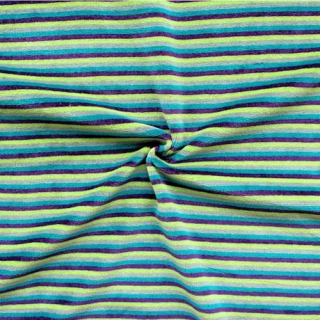 Nicki Baumwollstoff gestreift Grün-Lila-Petrol