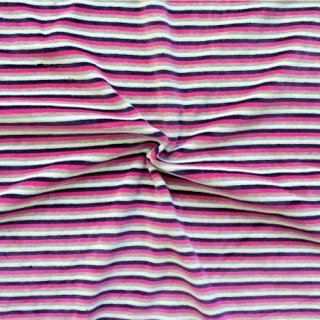 Nicki Baumwollstoff gestreift Pink-Lila-Grau