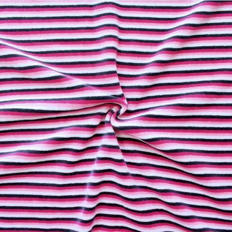 Nicki Baumwollstoff gestreift  Rosa-Pink-Weiss