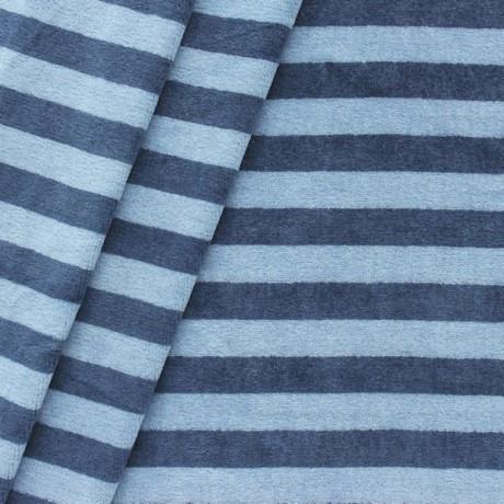 Nicki Baumwollstoff gestreift Blau