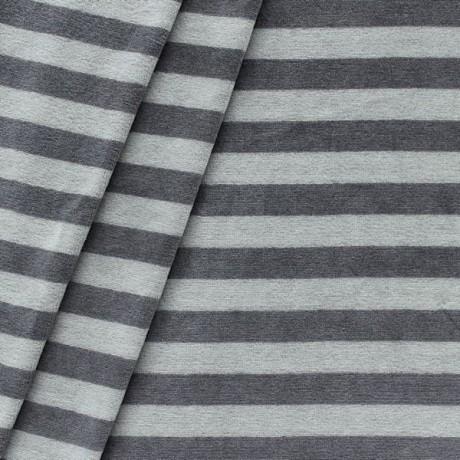 Nicki Baumwollstoff gestreift Grau