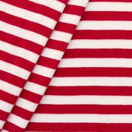 Nicki Baumwollstoff gestreift Rot-Weiss