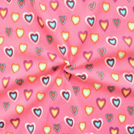 Polar Fleece antipilling Bunter Herzen Mix Rosa-Pink