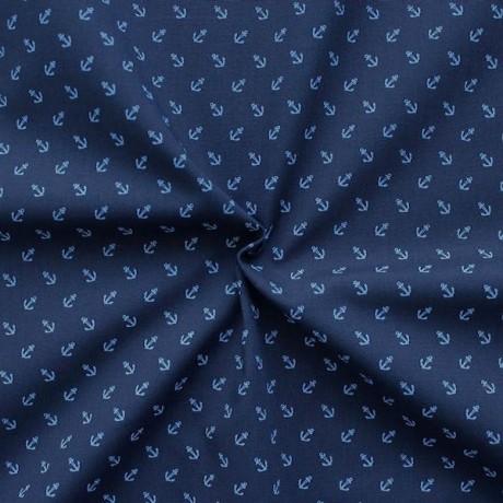 Polyester Baumwolle wie Batist Anker Dunkel-Blau