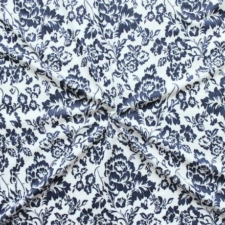 Polyester Stretch Jersey Flowers Weiss-Blau
