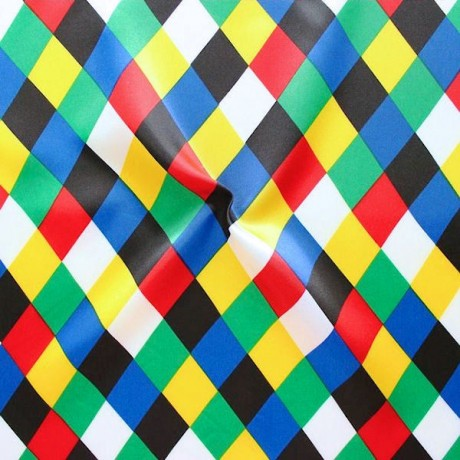 Satin Stoff Karneval Rauten Multicolor 2