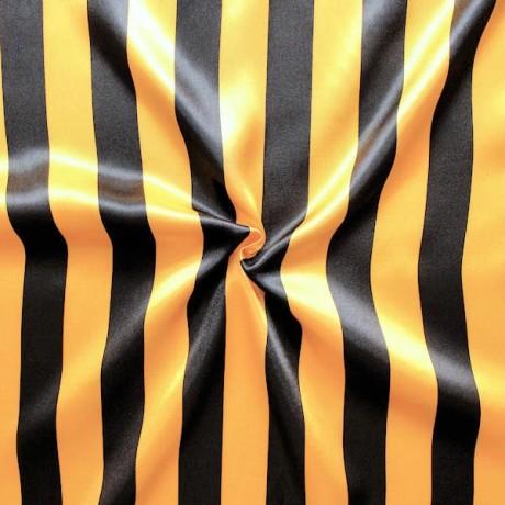 Satin Stoff Streifen Schwarz-Gelb