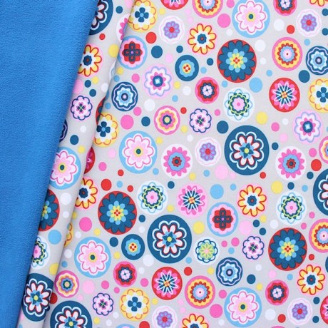 Softshell Fleece Stoff Flower Power Mix Grau-Blau