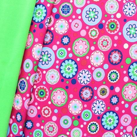 Softshell Fleece Stoff Flower Power Mix Pink-Grün