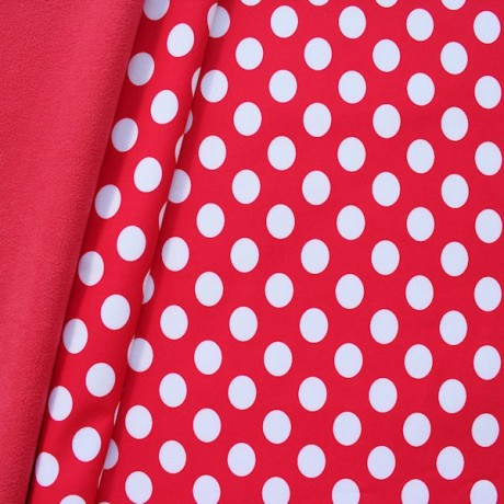 Softshell Fleece Stoff Punkte Groß Rot Weiss