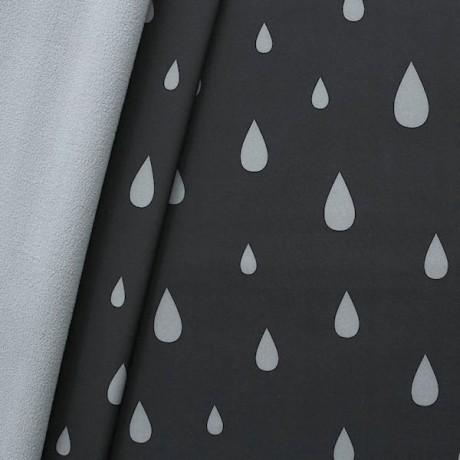 Softshell Fleece Stoff Tropfen Schwarz-Grau
