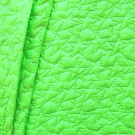 Steppstoff wattiert Sterne Neon-Grün