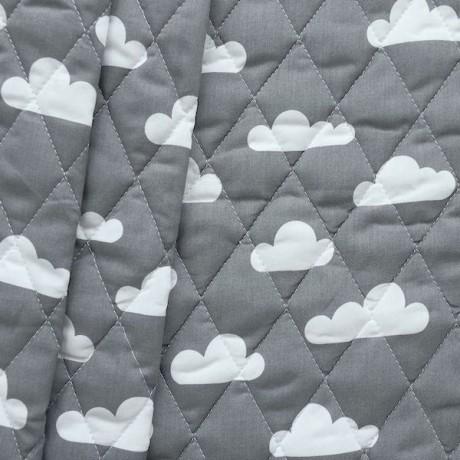 Steppstoff wattiert Wolken Dunkel-Grau