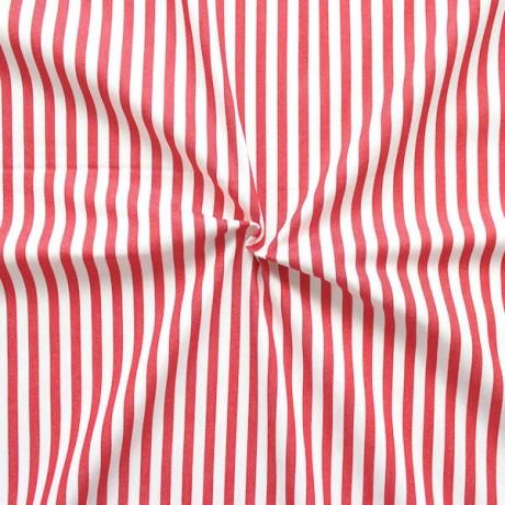 Stretch Baumwollstoff Klassik Streifen Weiss-Rot