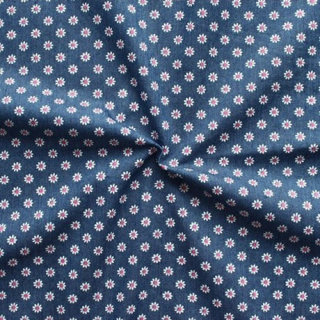 Stretch Denim Jeans Stoff Blümchen Dunkel-Blau