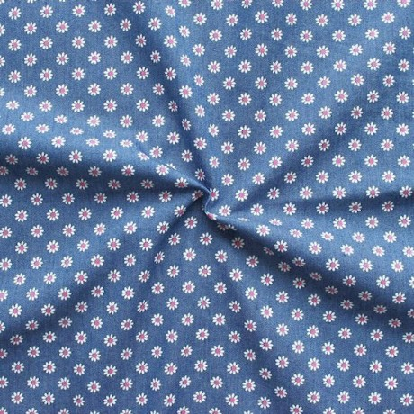 Stretch Denim Jeans Stoff Blümchen Mittel-Blau