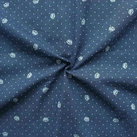 Stretch Denim Jeans Stoff Kronen und Punkte Dunkel-Blau