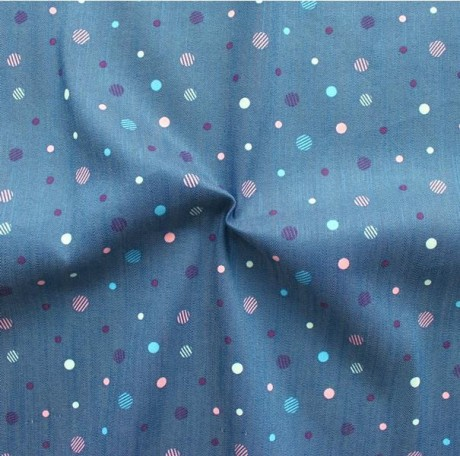 Stretch Jeans Stoff Punkte Blau Rosa-Violett