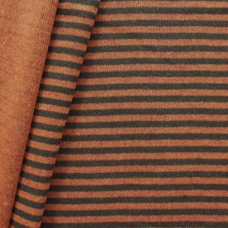 Strick Jersey Doubleface Ringel Orange Braun