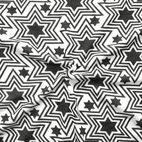 Strick Jersey Sterne Retro Mix Weiss Schwarz
