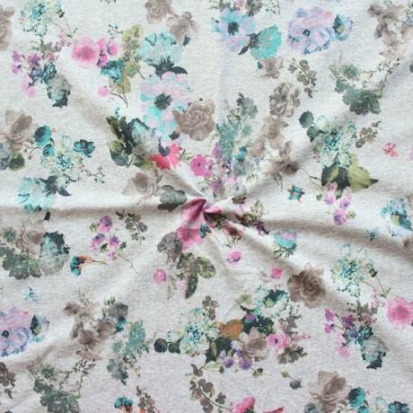 Sweatshirt Baumwollstoff French Terry Aquarell Blumen Grau meliert