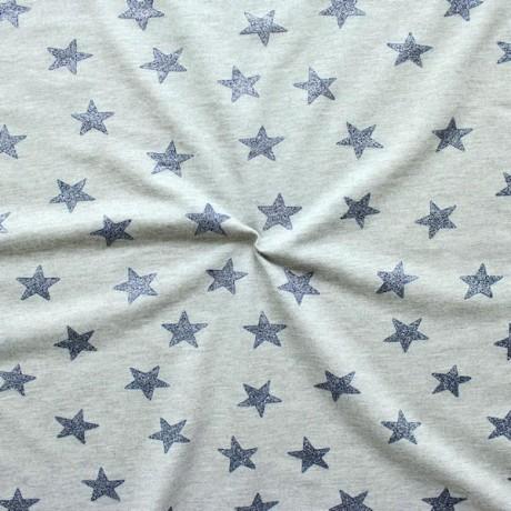 Sweatshirt Baumwollstoff French Terry Glitter Stars Blau