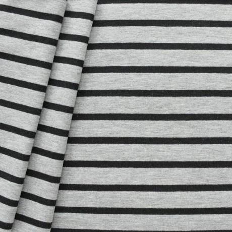 Sweatshirt Baumwollstoff French Terry Streifen quer Schwarz Grau meliert