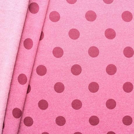 Sweatshirt Baumwollstoff Punkte groß Rosé-Violett melange