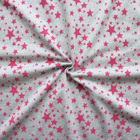 Sweatshirt Baumwollstoff Sterne Grau-Pink