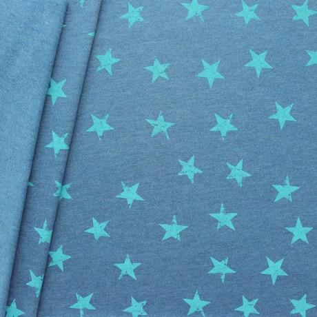 Sweatshirtstoff Sterne Used Look Blau meliert Türkis