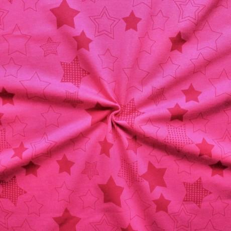 Sweatshirt Baumwollstoff Sterne Pink-Rot