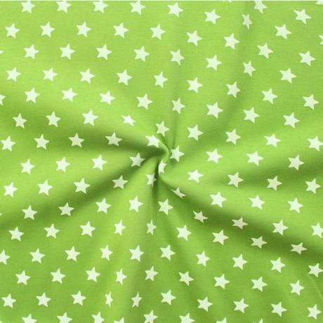 Sweatshirt Baumwollstoff Sterne groß Lind-Grün