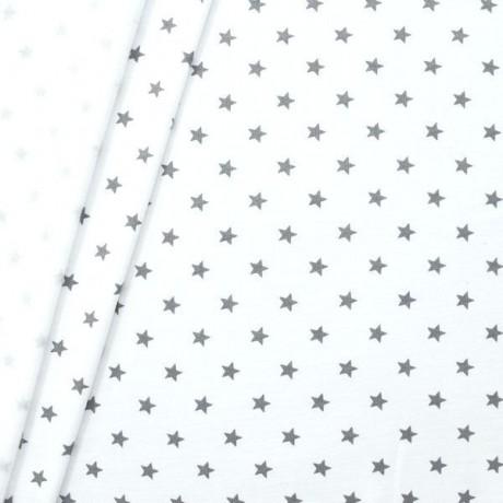 Sweatshirtstoff Sterne Groß Weiss-Grau