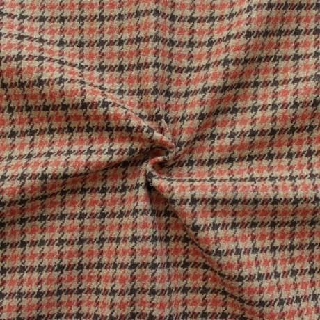 Tweed Wollstoff Hahnentritt Beige-Terrakotta-Braun