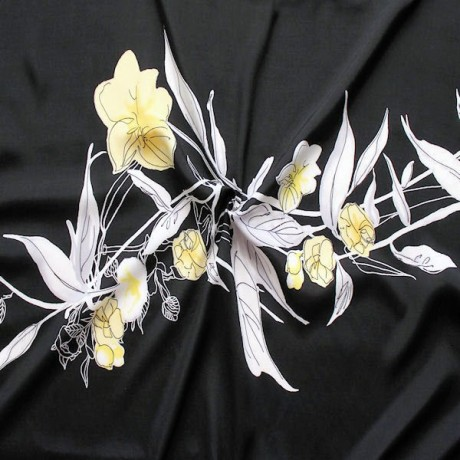 Viskose Modestoff Summer Flower XL Schwarz