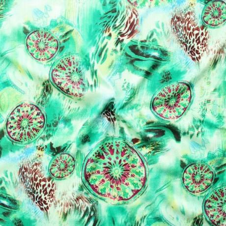 Viskose Musselin Fashion Mandala Grün