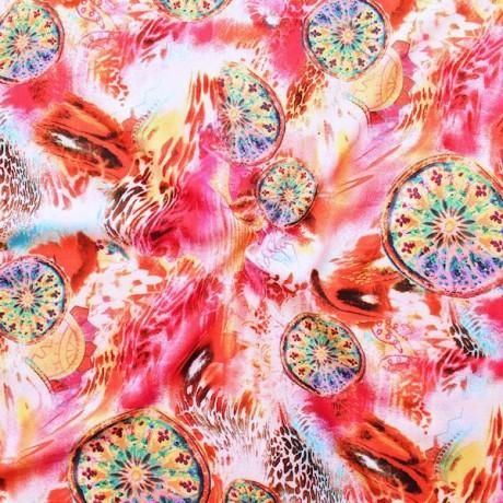 Viskose Musselin Fashion Mandala Pink