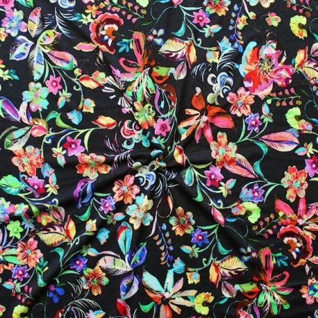 Viskose Stretch Jersey Fashion Flower Mix Schwarz