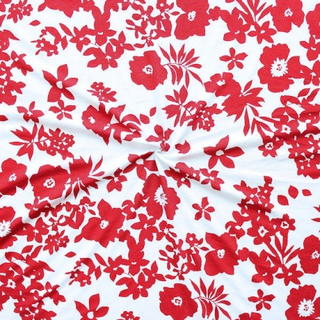 Viskose Stretch Jersey Red Flowers Rot Weiss