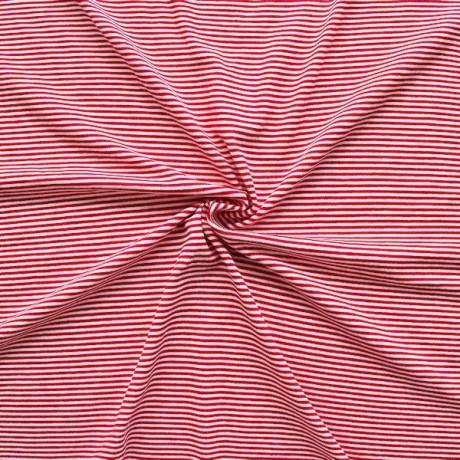 Viskose Stretch Jersey Ringel Rot-Weiss