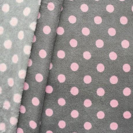 Wellness Fleece Punkte groß Grau Rosa