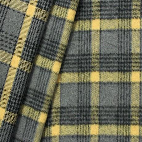 Wollmix Winter Karo Grau Gelb