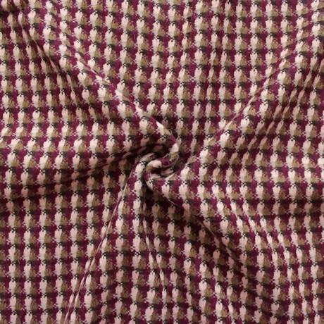 Wollstoff Karos Bordeaux-Violett