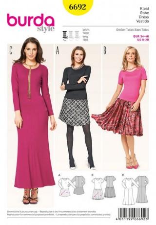 Kleid – Shirtkleid – angesetzter Rock, Gr. 34 - 46, Schnittmuster Burda 6692