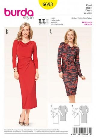 Kleid – Shirtkleid – Wasserfall – Knoteneffekt, Gr. 34 - 46, Schnittmuster Burda 6693