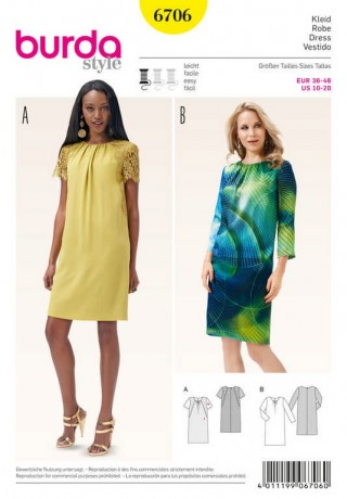 Kleid – runder Ausschnitt mit Kräuseln – Spitzenbesatz, Gr. 36 - 46, Schnittmuster Burda 6706