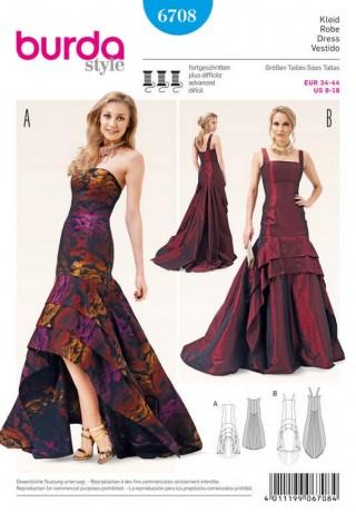 Abendkleid – Korsagenkleid – Schleppe, Gr. 34 - 44, Schnittmuster Burda 6708