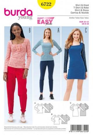 Shirt, Kleid – eckiger Ausschnitt, Gr. 32 - 42, Schnittmuster Burda 6722