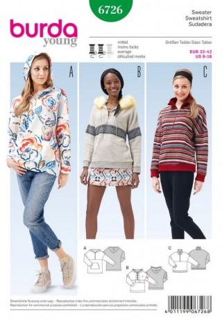 Sweater – Hoody – Pelzborte, Gr. 32 - 42, Schnittmuster Burda 6726